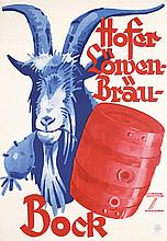 Original 1930s LUDWIG HOHLWEIN Bock Beer Poster Plakat