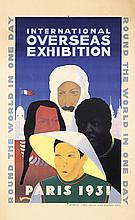 OLD ORIGINAL 1930s French Art Deco Fair Travel Poster