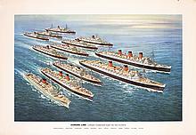 Large Original 1950s CUNARD Line Fleet Travel Poster