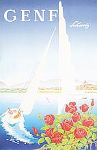 Original Vintage 1950s Swiss Travel Poster Lake Geneva