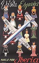 Great Original 50s Spain Travel Poster IBERIA Airlines