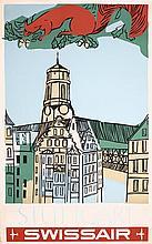 Original 1950s Swissair Travel Poster Stuttgart Germany