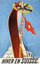 Original 1930 Winter Ski Swiss Travel Poster CARIGIET