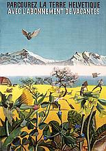 Original 1940 HANS ERNI Swiss Rail Travel Poster