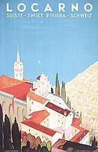 Original 1940s Swiss Travel Poster Locarno BUZZI Plakat