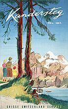 Old 1940s Swiss Travel Poster MONNERAT Art Kandersteg