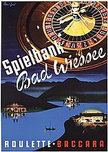 Original 1950s German Casino Travel Poster Roulette
