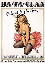Original 1970s Swiss Bataclan Cabaret Plus Sexy Poster