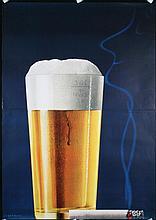 Original 1950s Swiss Design Poster Beer Glass Cigarette