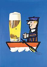 Funny Original 1950s HERBERT LEUPIN Beer Poster Plakat