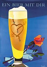 Original 1950s DONALD BRUN Swiss Beer Poster Plakat
