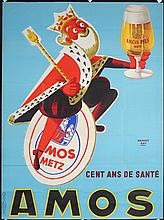 Original 1950s/60s French Beer Poster AMOS King
