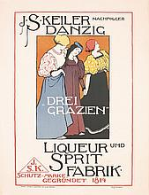 Original 1890s German Liquor Poster Plakat OTTO FISCHER