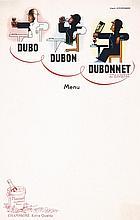 Rare Original 1930s Cassandre Dubonnet Menu Card