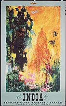 Original 1950s SAS Airline Travel Poster INDIA
