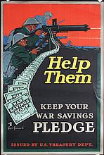 2 Original American World War I Savings Stamps Poster