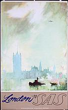 Nice Original 1950s SAS Airline Travel Poster London