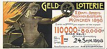 Original 1890s German Art Nouveau Munich Exhibit Poster