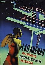 STUNNING 1920s/30s Art Deco Swimming Pool Poster ARENAS