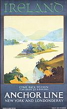 Original 1930s Ireland Anchor Line Travel Poster
