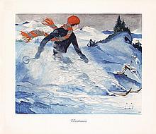 Original 1930 German Ski Winter Sports Poster WIERTZ