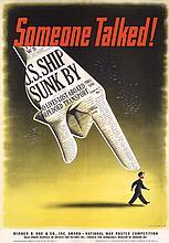 RARE ORIGINAL US World War II Someone Talked Poster AWARD !