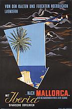 Original 1950s IBERIA Airlines Travel Poster MALLORCA
