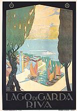 RARE Original 1920s Italian Travel Poster LAGO DI GARDA