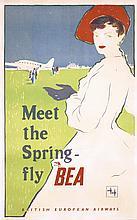 Nice Original 1950s British Airline Travel Poster