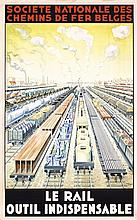 RARE Original 1930s Belgian Travel  Poster RAIL OUTIL