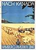 ORIGINAL 1930s Hamburg America Line Travel Poster CANADA, Ottomar Anton, $200