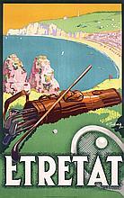 Original 1920s French Beach Travel Poster ETRETAT Golf