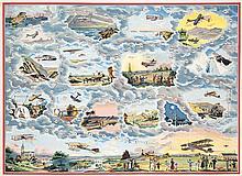 RARE Original 1910s French Aviation Poster GAME BOARD