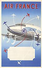 Original 1950s Air France Travel Poster Propellers