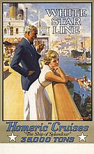 STUNNING Original 1930s WHITE STAR LINE Travel Poster