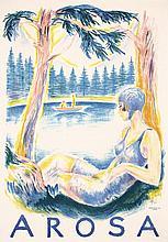 Original Vintage 1920s Swiss Travel Poster Arosa LAUBI