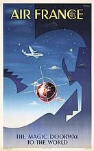 RARE Original 1951s Air France Airline Travel Poster