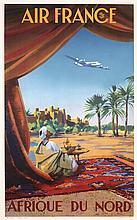 Original 1950 AIR FRANCE Travel Poster North Africa GUERRA