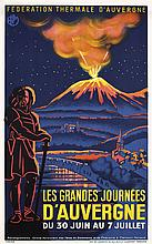 Vintage Original 1930s French Spa Travel Poster AUVERGN