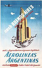 Original 1950s Buenos Aires Argentina Air Travel Poster