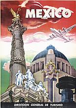 Stunning Original Vintage Mexico Travel Poster Airplane