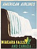 Old 1940s Niagara Falls Airline Travel Poster KAUFFER, Edward Mc Knight Kauffer, $330