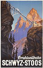 Beautiful Original 1930s Swiss Mountain Travel Poster