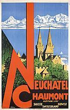 Original 1930s Swiss Travel Poster Neuchatel COULON
