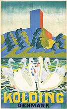 Original 1930s Danish Travel Poster KOLDING WHITE SWANS