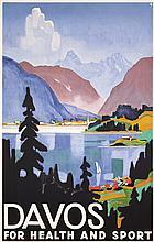 Rare Original 1930s Davos Travel Poster BAUMBERGER