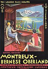 BEAUTIFUL Vintage 1920s Swiss Rail Travel Poster MOB