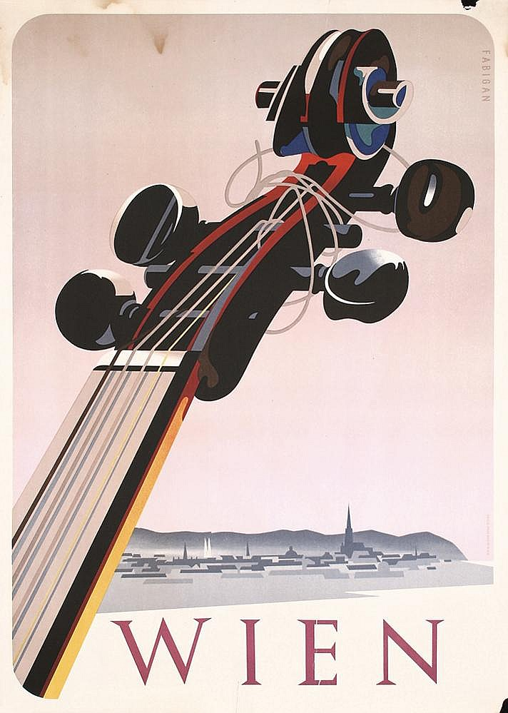 Original 1930s Austria Travel Poster VIOLIN Design