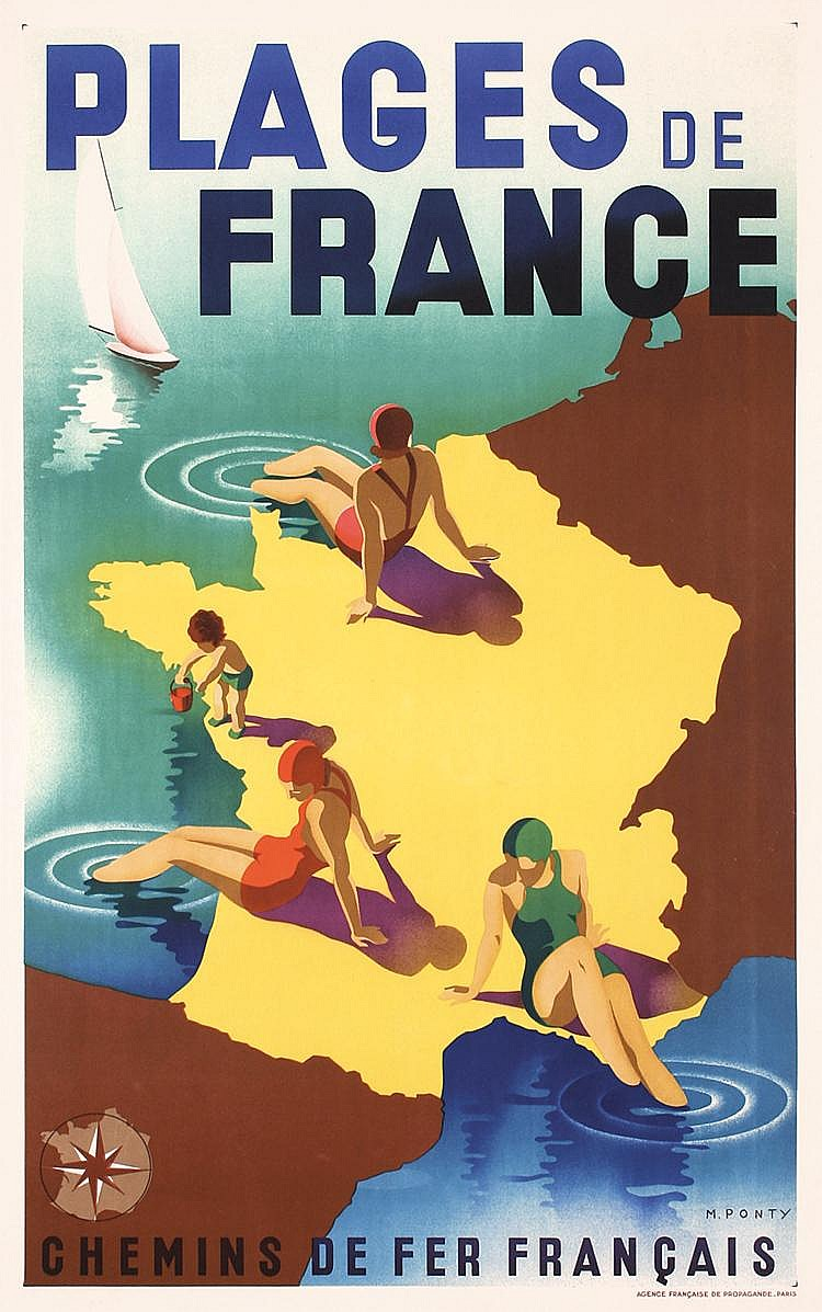 Old Original 1930s French Beach Travel Poster MAX PONTY