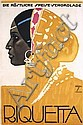 GREAT ORIGINAL 1920s HOHLWEIN Riquetta Chocolate Poster